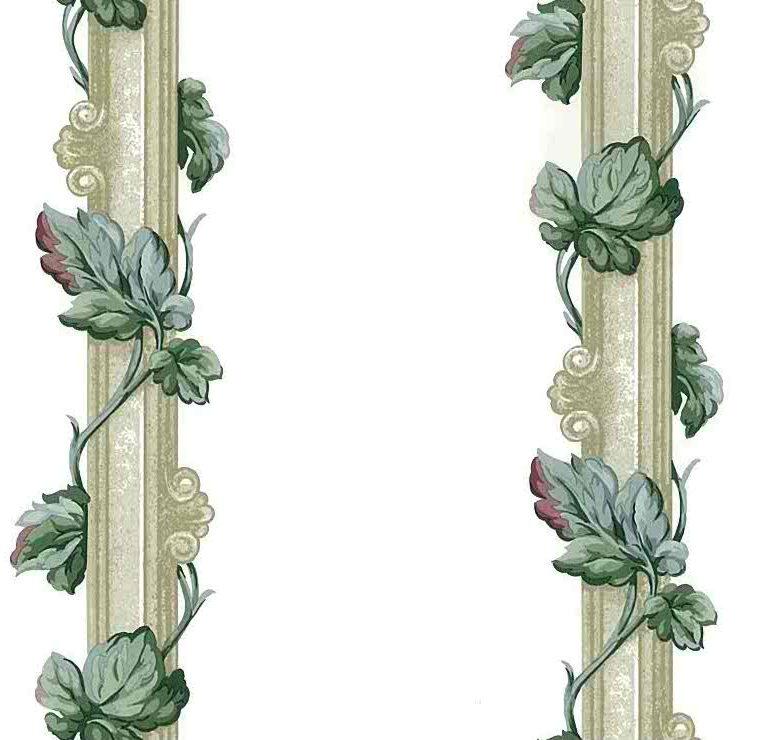 leaf stripes vintage wallpaper,ivy, green,taupe,columns