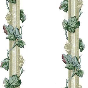 Leaf Stripes Vintage Wallpaper Ivy Green Taupe Rose 856120 D/Rs