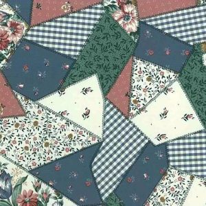 patchwork quilt vintage wallpaper, checks, stripes, flowers, pink, green, white