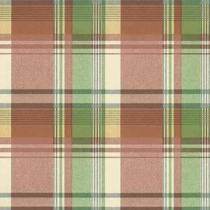 Waverly plaid vintage wallpaper, red, orange, yellow, green, blue, white, cottage style
