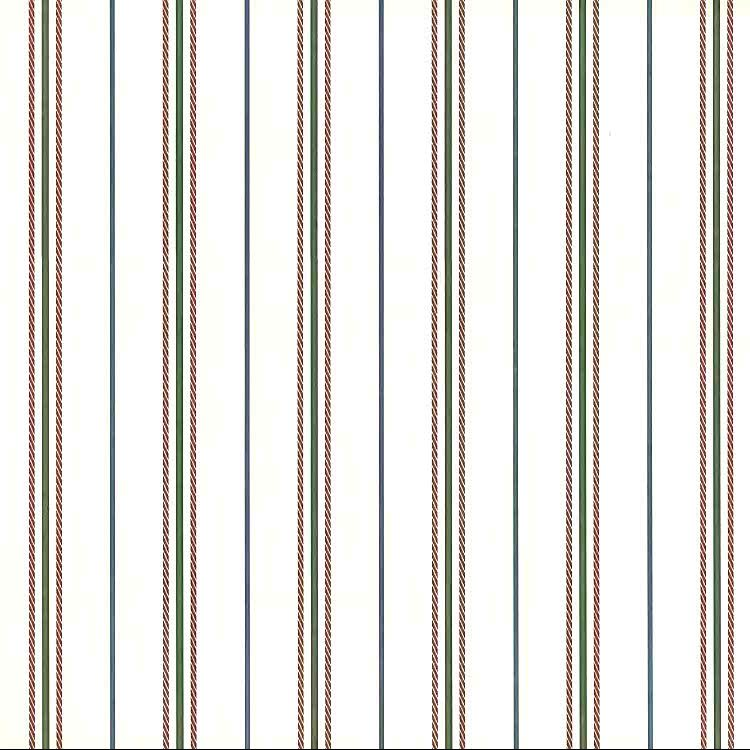 vintage wallpaper green red stripe, off-white, traditional, dining room, bedroom, rope-like