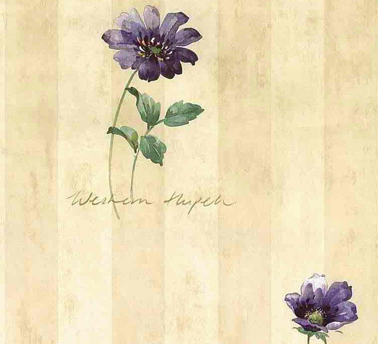 script striped vintage wallpaper, purple, beige, floral, flowers, green, bedroom