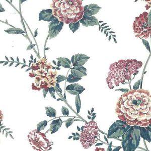 Pink Cottage Floral Vintage Wallpaper Green Off-White SOP3091 D/Rs
