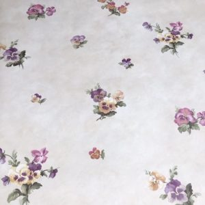 pansies floral vintage wallpaper, cottage style, purple, rose, cream