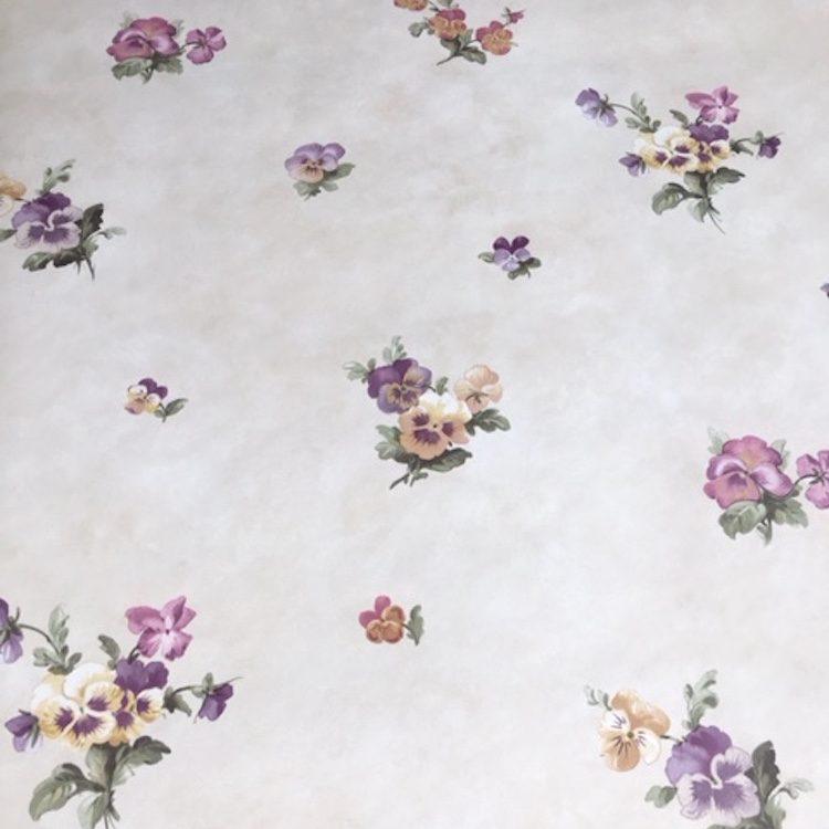 pansies floral vintage wallpaper, cottage style, purple, rose, cream