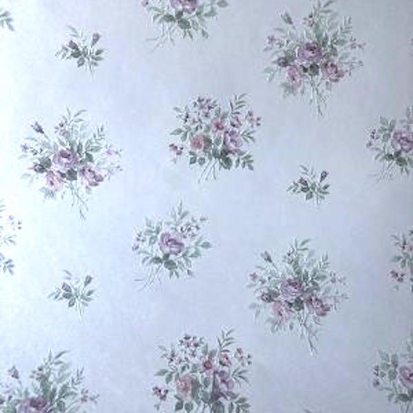 pink green floral vintage wallpaper, UK, English cottage, floral, pastel,