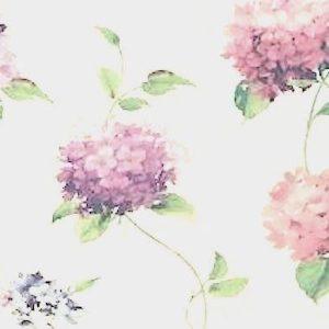 Vintage Wallpaper Hydrangea Floral Purple Cream KH7072 Double Rolls