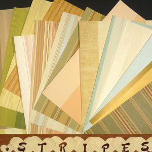 STRIPED Wallpaper Crafts Pak Scrapbooking Paper 17 Sheets