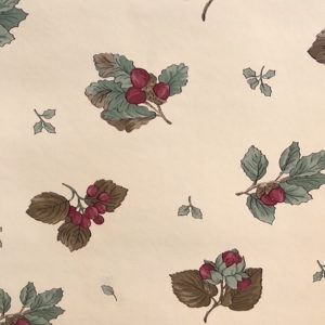Berries Vintage Wallpaper Cream Green Red Gray Kitchen 709-5712 D/Rs