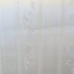wallpaper floral satin stripe scrolls, white