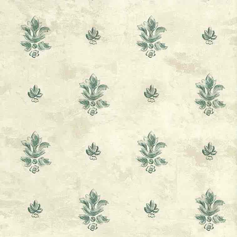 vintage wallpaper fleur de lys, green, beige, textured, faux finish, French