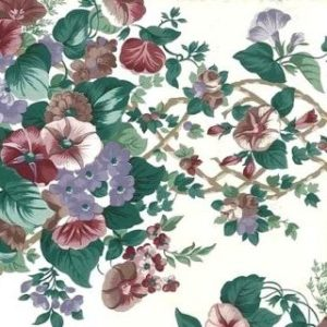 Morning Glories Vintage Wallpaper in Cranberry, Purple, Green, & White