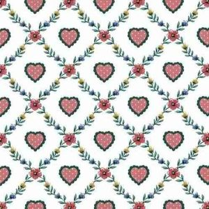 Hearts Vintage Wallpaper with Diamond Shaped floral vines