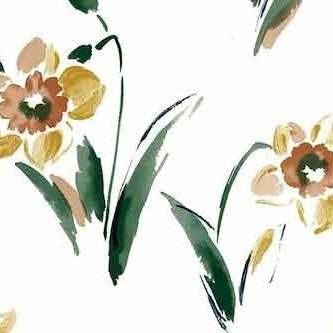 Daffodils Vintage Wallpaper in Yellow, Orange, Green & White