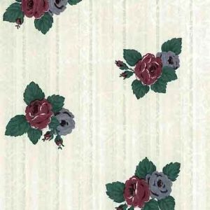Floral Striped Vintage Wallpaper Brocade Green Red Blue TV260 D/Rs