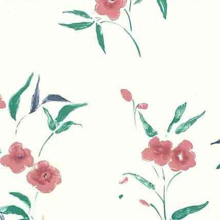 Vintage Wallpaper pink floral, Off-White, green
