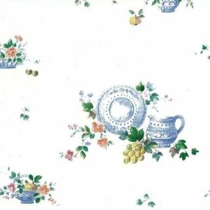 Vintage Fruit Wallpaper Pitcher Plate Blue Floral Kitchen CS6731 D/Rs