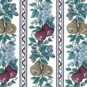 Vintage Fruit Striped Wallpaper Floral Kitchen Red Blue SC2032 D/Rs