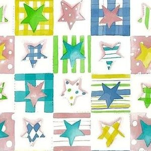 Plaid Stars Vintage Wallpaper Pink Green Blue Yellow Kids GR60012 D/Rs
