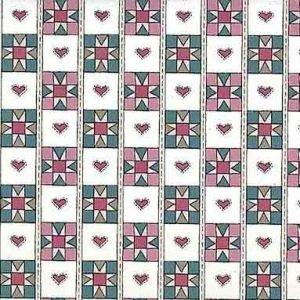Heart Quilt Vintage Wallpaper in Pink & Teal