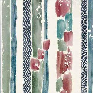 Chevron striped vintage Wallpaper in Blues & Greens