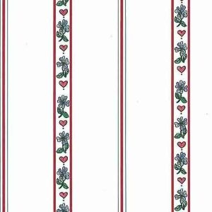 Heart Striped Vintage Wallpaper Floral Red Blue Kitchen 57063971 D/Rs