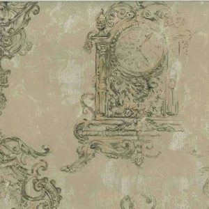 Ronald Redding Clock Vintage Wallpaper Taupe Gold MB8569 D/Rs