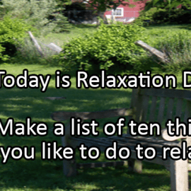 Writing Prompt for August 15: Relaxation Day