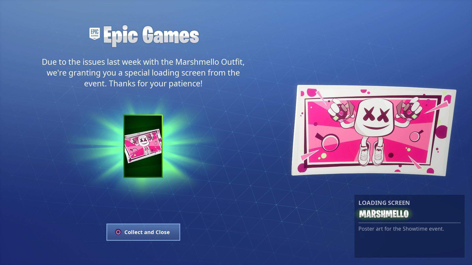 following on from the problems with fortnite s marshmello skin last week which saw the skin disabled after reports of glitching issues - fortnite report screen