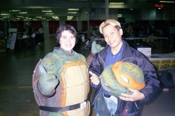 Michele Ivey with her home made Turtle costume