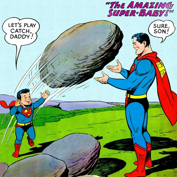Superman as a Father Adopted Baby Bliss in Action Comics #217 (June 1956)