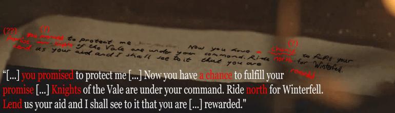 Sansa's Secret Letter