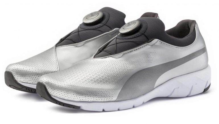 Puma has teamed up with the BMW Company, Design Works, to create the futuristic and metallic silver BMW X-CAT DISC sneaker.
