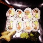Emily's completed roll - Avocado, Cucumber, Salmon and Crab accompanied by Ginger, Wasabi and Wasabi Relish