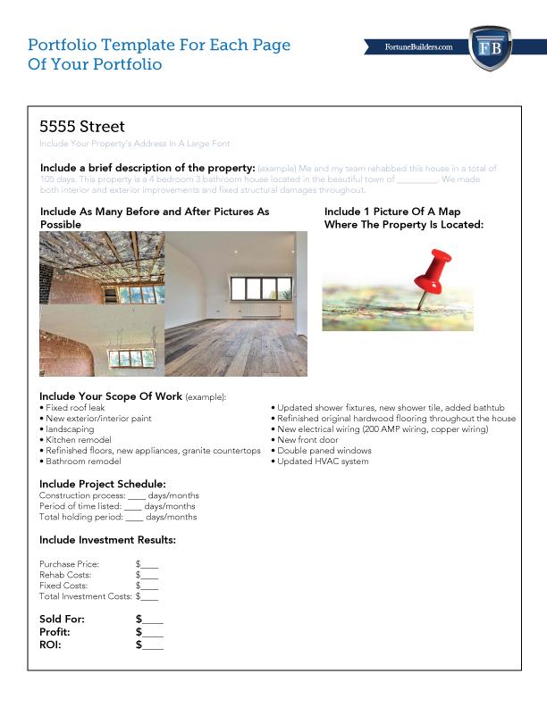 Free Real Estate Portfolio Template Downloadable