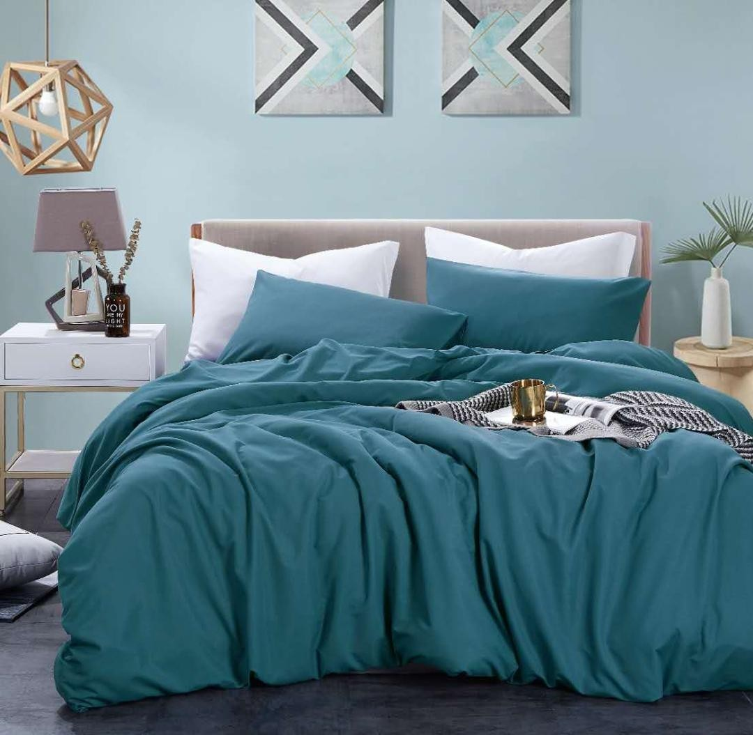 bedding day soft microfiber solid 700tc fitted sheet set dark cyan