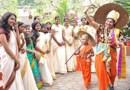 Onam parade with Mahabali and Vaman 'dwarf'