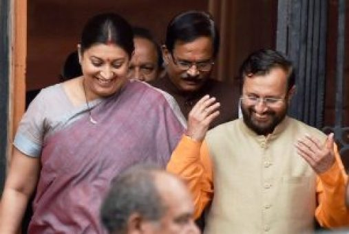 New Delhi: HRD Minister Smriti Irani with new Cabinet minister Prakash Javadekar after a Cabinet meeting at South Block in New Delhi on Tuesday. PTI Photo by Vijay Kumar Joshi (PTI7_5_2016_000149B)