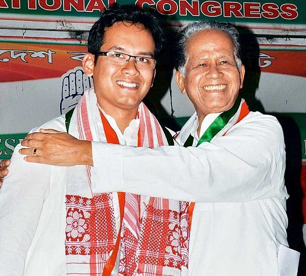 Former chief minister Tarun Gogoi and son Gaurav Gogoi