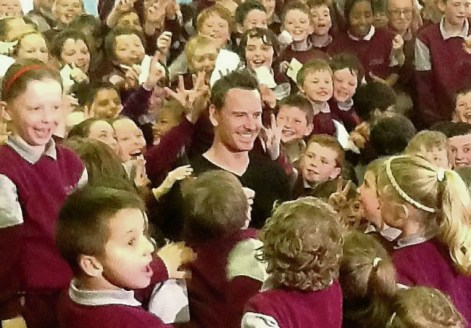 Michael Fassbender meeting the enthusiastic pupils of Fossa National School on Monday.