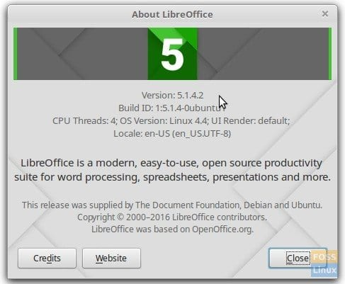 Installed LibreOffice version
