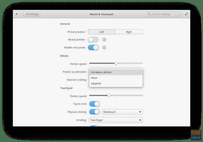 Pengaturan Mouse dan Touchpad di Juno