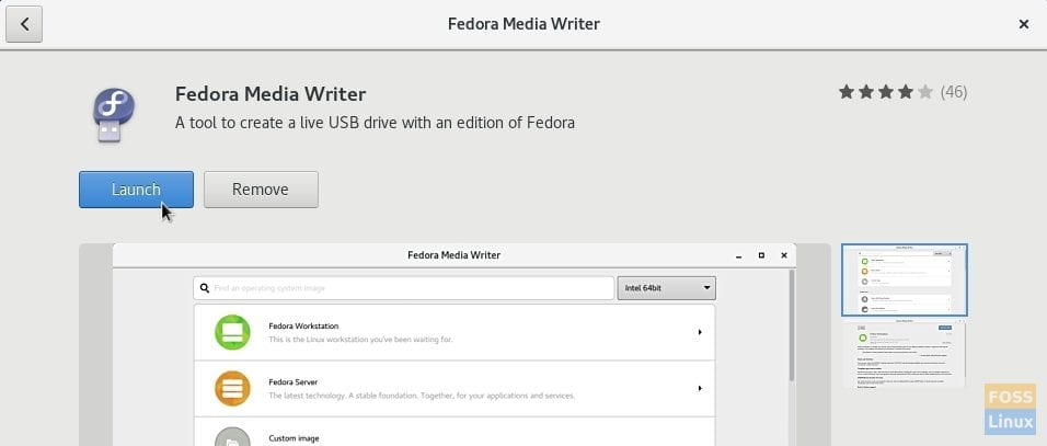 Launch Fedora Media Writer