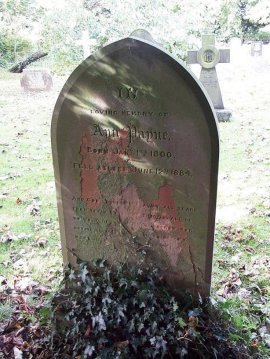 Grave in churchyard with sunlight