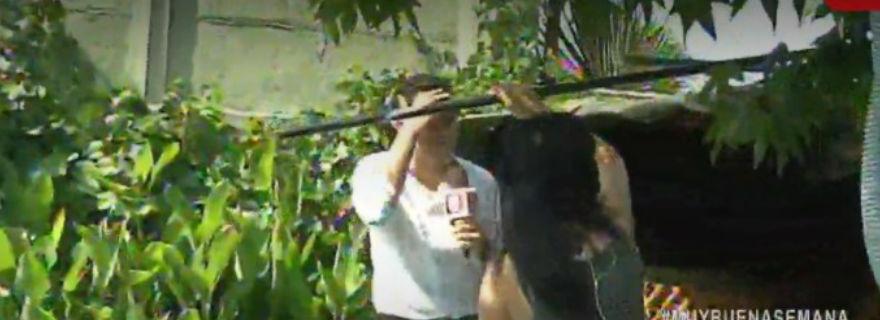 """El chascarro que sufrió notero del """"Muy Buenos Días"""" en la casa de Anita Alvarado"""