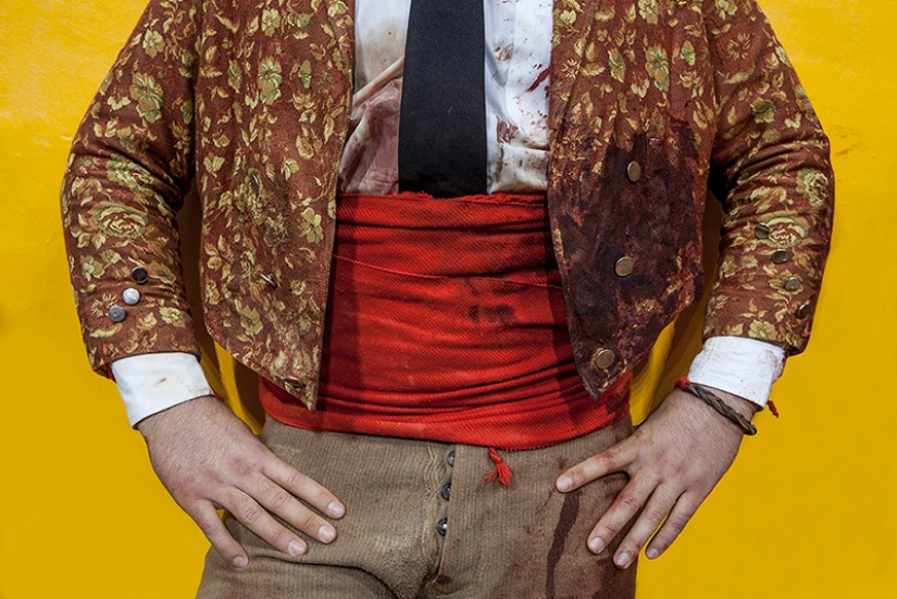 Forcados jacket after wrestling the bull: Detail of the forcado jacket after the 'pega' or face catch, Redondo Arena, Portugal.
