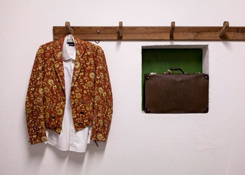 Forcados jacket: The 'jaqueta', a forcado's jacket seen in the dressing room before the bullfight in Valverde, Portugal, 3rd August 2013. The jacket distinguishes each group from a another because of the different fabrics and patterns. It is also extremely important for the forcados since it passes from generation to generation.
