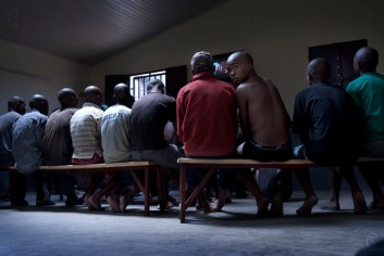 A video session in the refectory. After lunch, the young prisoners have the opportunity to watch movies.