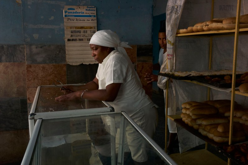 A typical Cuban bakery. There is only one kind of bread in 3 sizes. Centro Habana, November 2013.