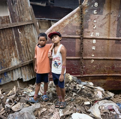 Girby (8) and Alvin (10), friends had evacuated to higher grounds from Barangay Anibong, one of the most destroyed areas by storm surge in Tacloban. January 5, 2014